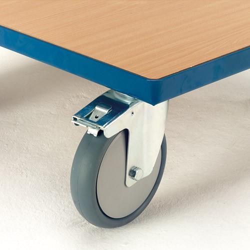 Räder mit blaugrauer thermoplastischer Gummibereifung, Kugellager