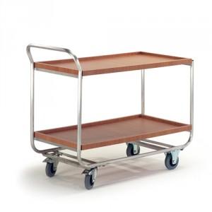 Alu-Tischwagen Holzrand
