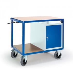 Höhenverstellbarer Tischwagen mit Stahlschrank