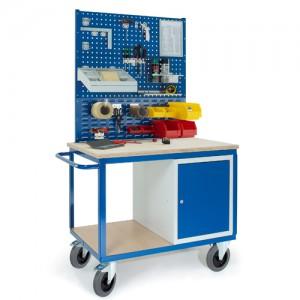 Werkstattwagen mit Stahlschrank 2x Lochplatten 1x Schlitzplatte