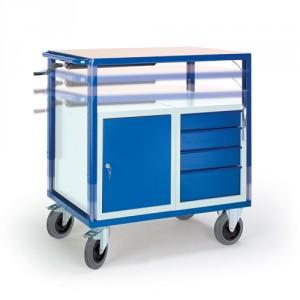 Höhenverstellbarer Tischwagen mit Stahl-/Schubladenschrank