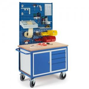 Werkstattwagen mit StahlSchubladenschrank 2x Lochplatten 1x Schlitzplatte