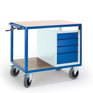 Höhenverstellbarer Tischwagen mit Schubladenschrank