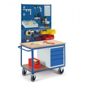 Werkstattwagen mit Schubladenschrank 2x Lochplatten 1x Schlitzplatte