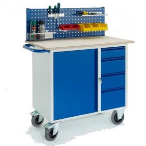 Werkstattwagen mit 4 Schubladen 1 Stahlschrank 1x Lochplatte