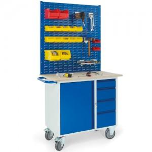 Werkstattwagen mit 4 Schubladen 1 Stahlschrank  3x Schlitzplatten
