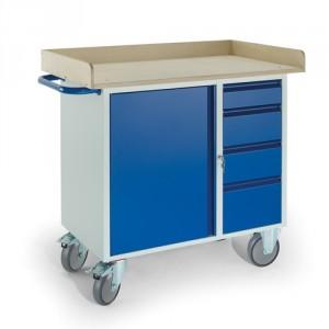 Werkstattwagen 4 Schubladen 1 Stahlschrank Holzrand