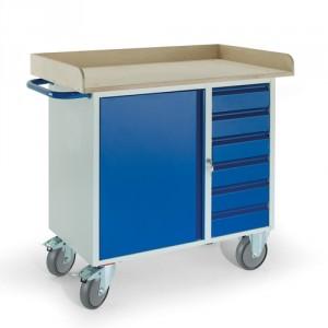 Werkstattwagen 6 Schubladen 1 Stahlschrank Holzrand
