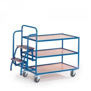Tischwagen mit 2 Trittstufen (3 Etagen)