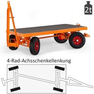 Schwerlast-Industrie-Anhänger mit 4-Rad-Achsschenkel-Lenkung (2t)