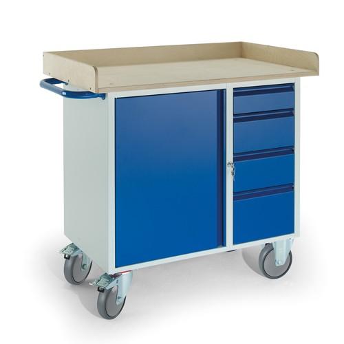 werkstattwagen mit holzrand 4 schubladen 1 stahlschrank. Black Bedroom Furniture Sets. Home Design Ideas