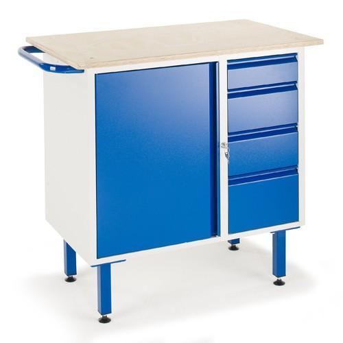 werkbank mit schubladen und stahlschrank rollcart. Black Bedroom Furniture Sets. Home Design Ideas